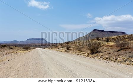 Endless Road In Namibia Moonscape Landscape