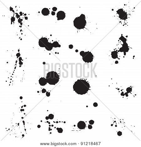 Vector Ink Splatters, Blots And Drips Collection
