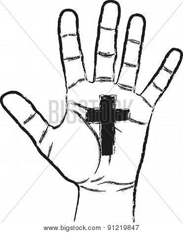 Cross and Hand