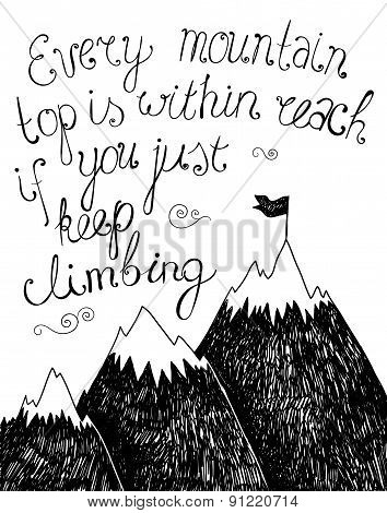 Hand drawn typography poster. Inspirational quote for  card.