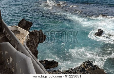 Surf In Coastal Rocks Of Puerto De Santiago, Tenerife, Canary.