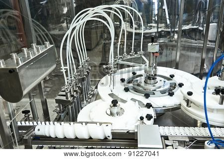 pharmaceutical industry. Production line machine conveyor at facory poster