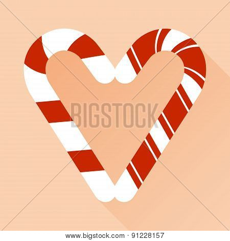 Candy cane style heart  on pink vector background