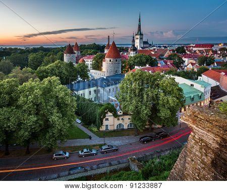 Aerial View Of Tallinn Old Town From Toompea Hill In The Evening, Tallinn, Estonia