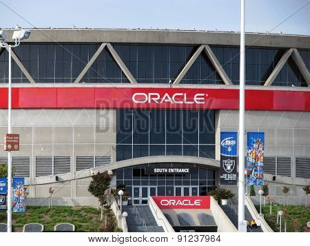 OAKLAND, CA - NOVEMBER 18: Exterior View Oracle Arena at Oakland Raiders Football Game 2012