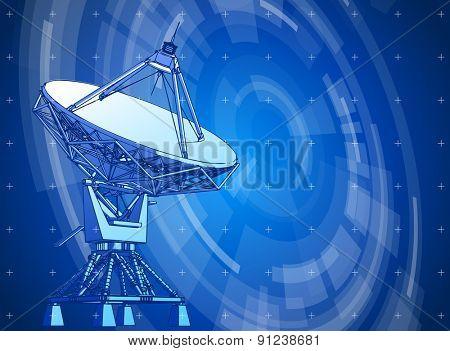 satellite dishes antenna. Doppler radar and blue radial technology background. Vector illustration. eps10 poster