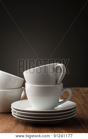 Two Plain White Pottery Tea Or Coffee Cups