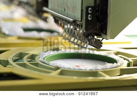 Closed-up Of Machine Embroider