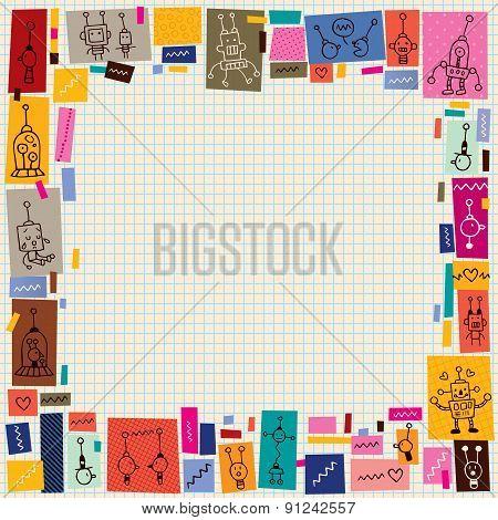 cute robots collage cartoon doodle border
