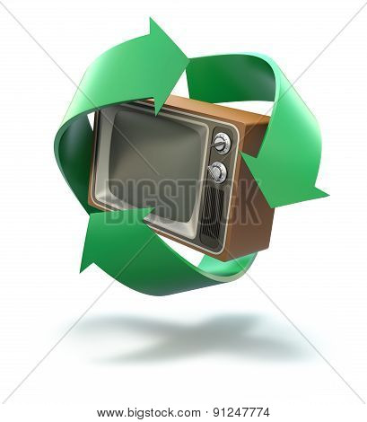 Old TV with recycling symbol