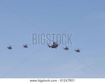Mi-26 And Mi-8 Formation Flying Across
