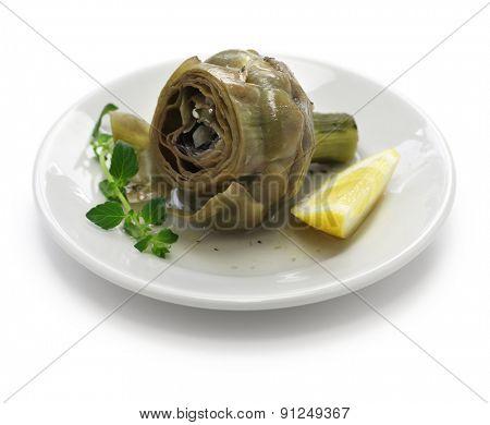 carciofi alla Romana, Roman style boiled artichoke dish