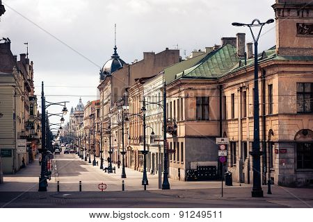 Lodz City, Piotrkowska Street view From Liberty Square