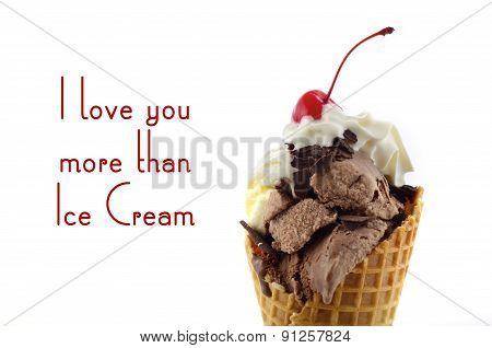 Chocolate And Vanilla Ice Cream Wafer Cones.