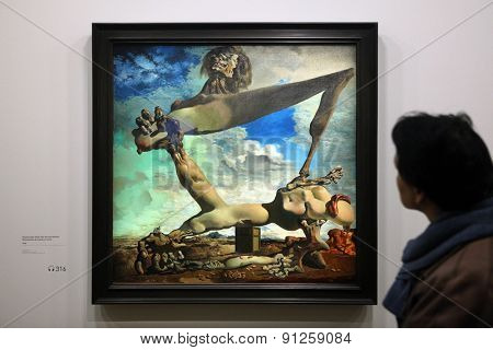 PARIS, FRANCE - JANUARY 7, 2013: Visitor looks at the painting Soft Construction with Boiled Beans or Premonition of Civil War (1936) by Salvador Dali at his retrospective exhibition in Paris, France.