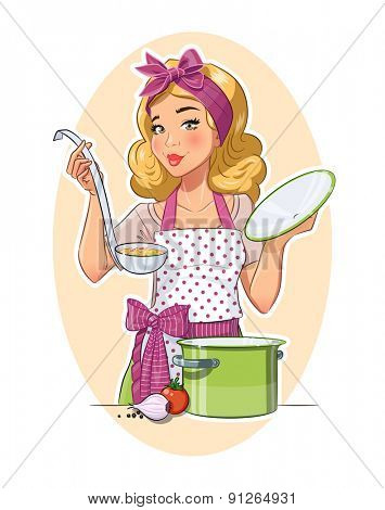 Housewife girl cooking food. Eps10 vector illustration. Isolated on white background