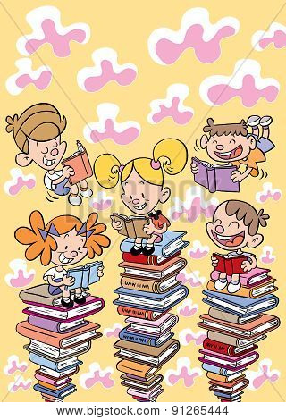 kids reading books education, school, learning concept illustration