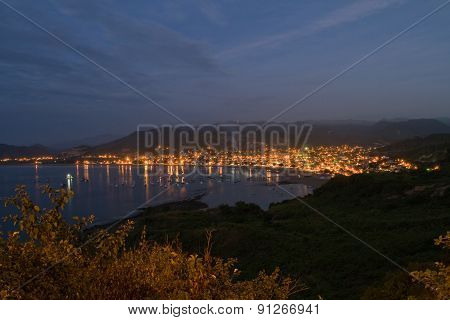 Beautiful high angle view of Puerto Lopez, popular vacation spot in the Ecuadorian coast