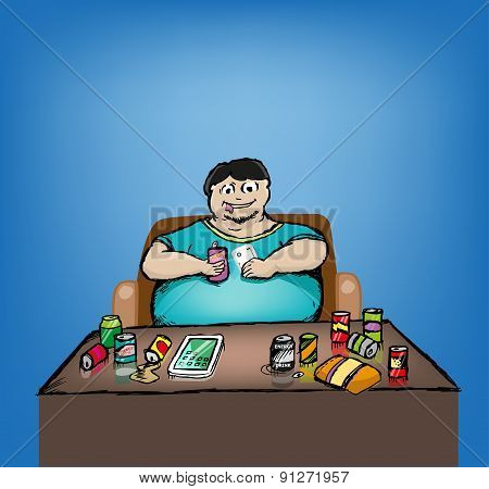 Binge Drinking and Eating of Obese Man