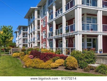 Modern apartment buildings in Richmond British Columbia Canada. poster