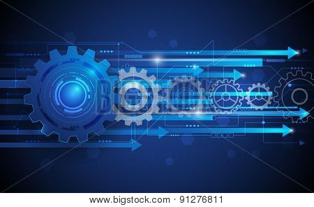 Vector Illustration Abstract Futuristic Gear Wheel With Circuit Board