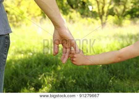 The Parent Holding The Hand Of A Small Child