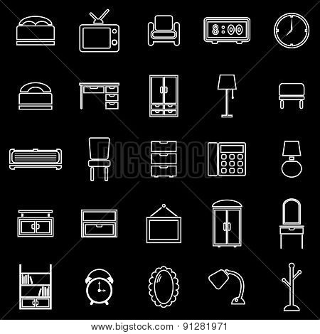 Bedroom Line Icons On White Background