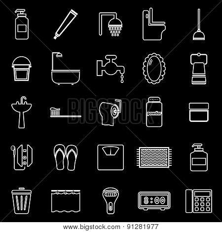 Bathroom Line Icons On Black Background