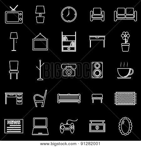Living Room Line Icons On Black Background