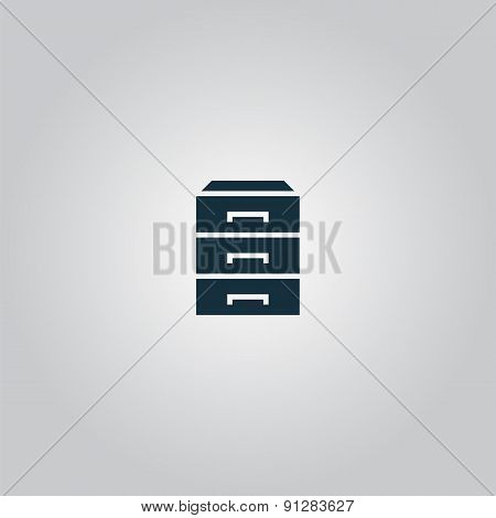 chest of drawers. Flat web icon or sign isolated on grey background. Collection modern trend concept design style vector illustration symbol poster