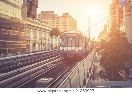 Bangkok, Thailand - May 11 : View Of Bts Skytrain Arrives To Bts Station On May 15, 2015 In Bangkok,
