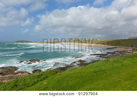 Newquay Fistral beach North Cornwall uk in spring one of the best surfing beaches in the UK