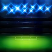 Soccer stadium background with spotlight at night poster