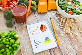 healthy eating, vegetarian food, diet and weight control concept - close up of ripe vegetables and notebook with charts and calories on wooden table poster