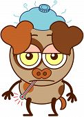 Cute brown dog in minimalistic style with big hanging ears, bulging eyes and pointy tail while having a thermometer in its mouth, an ice pack above its head, showing a sad mood and feeling sick poster