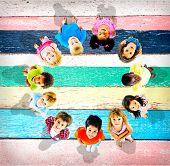 Children Kids Cheerful Childhood Diversity Concept poster