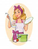 Housewife girl cooking food. Eps10 vector illustration. Isolated on white background poster