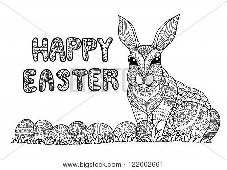 Happy Easter typography with Easter eggs and bunny