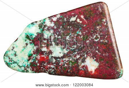 macro shooting of natural gemstone - polished green chrysocolla with red Cuprite mineral gem stone isolated on white background