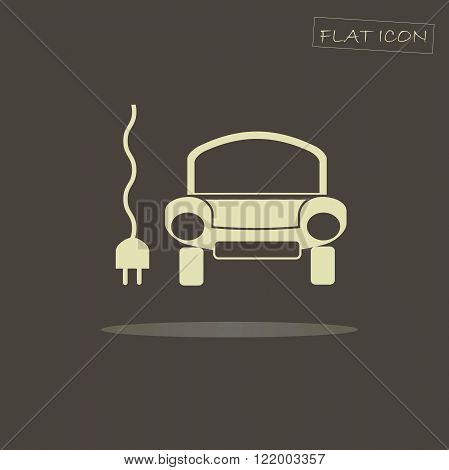 Flat electric car icon. Light car on dark background. Icon vector