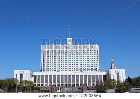 MOSCOW, RUSSIA - MAY 4, 2012: House of the Government Russian Federation against the blue sky