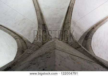 Curves of column at the Castle of Diosgyor in Miskolc, Northern Hungary
