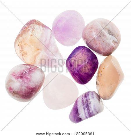 Pile Of Pink And Violet Natural Mineral Gemstones