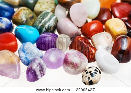 Many Tumbled Natural Mineral Gem Stones