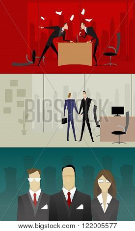 Three illustrations with businessmen who swear, make deal and an illustration of the selection of personnel. They can be used in the design on the theme of business law, corporate relations