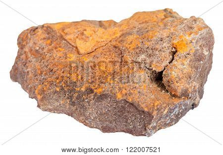 macro shooting of natural rock specimen - limonite (iron ore bog iron ore brown hematite brown iron ore lemon rock yellow iron ore) mineral stone isolated on white background poster