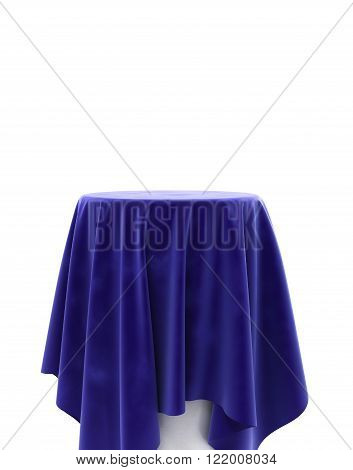 Blue Velor Cloth On A Round Pedestal Isolated On White
