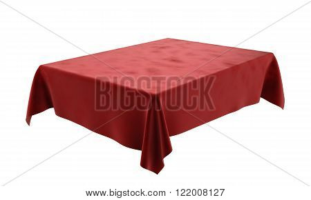 Red Velor Rectangular Tablecloth For The Table Isolated On White Background