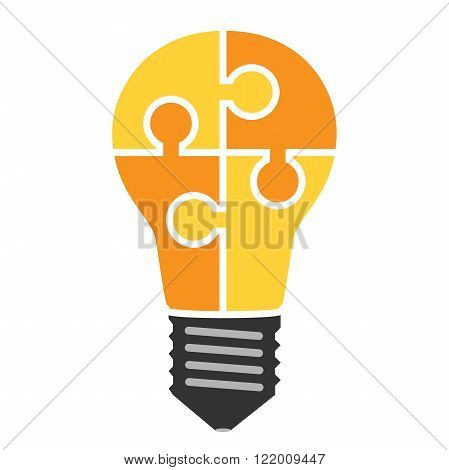 Yellow light bulb consisting of puzzle pieces isolated. Idea business solution work insight brainstorm concept. Flat style. EPS 8 vector illustration no transparency