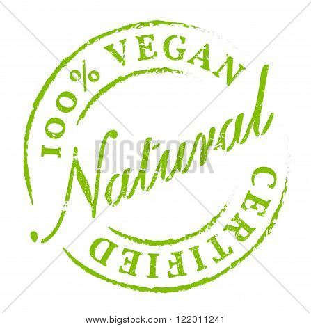 Green 100% Vegan All Natural Icon Sticker Badge. Eco product symbol disstressed natural rubber stamp on white background. Sign of product fresh and healthy nature.